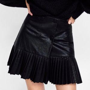 Brand New w Tags Zara Faux Leather Wrap Skirt
